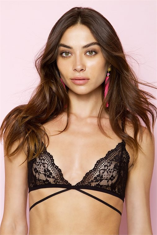 LORA BLACK STRAPPY LACE BRALETTE