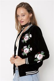 Embroidered Velvet Bomber