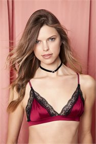 Kiss From A Rose Bordeaux Satin Bralette