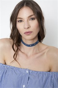 Denim Studs Choker