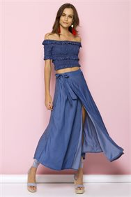 Denim Wrap Maxi Φούστα
