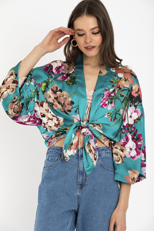 FLORAL KIMONO - Petrol clothes   jackets   kimono