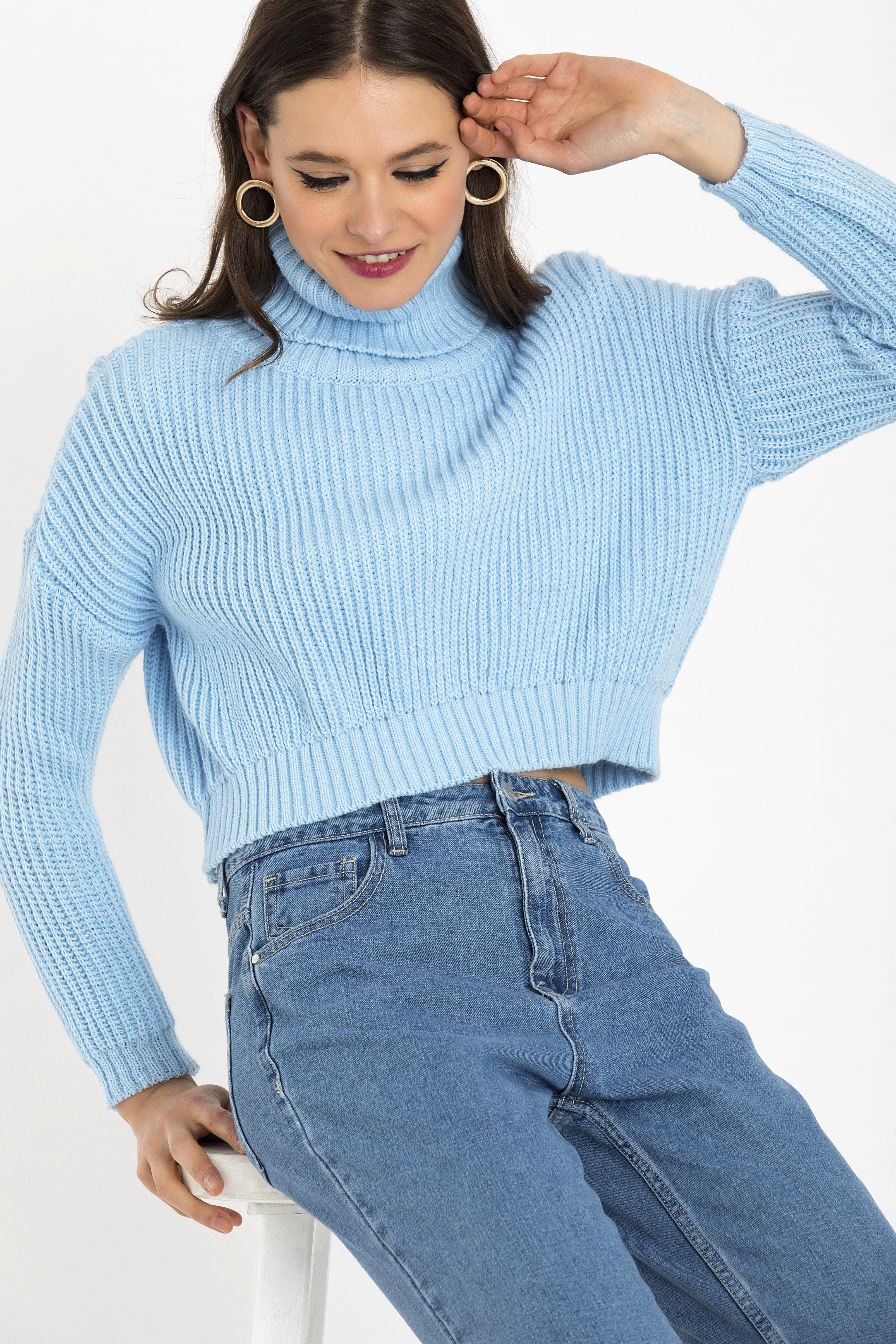 CROPPED ΠΟΥΛΟΒΕΡ - Σιέλ clothes   tops   πουλόβερ