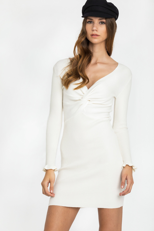 V NECK RIB ΦΟΡΕΜΑ - Εκρού clothes   φορέματα   φόρμες   mini φορέματα