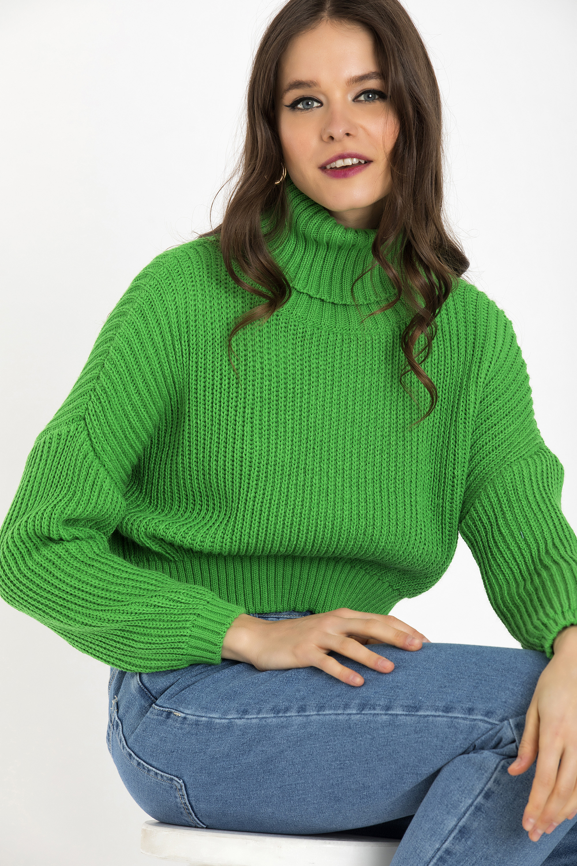 CROPPED ΠΟΥΛΟΒΕΡ - Πράσινο clothes   tops   πουλόβερ