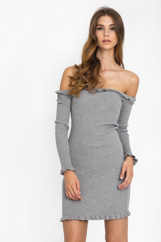 OFF SHOULDER RIB ΦΟΡΕΜΑ - Γκρι clothes   φορέματα   φόρμες   mini φορέματα