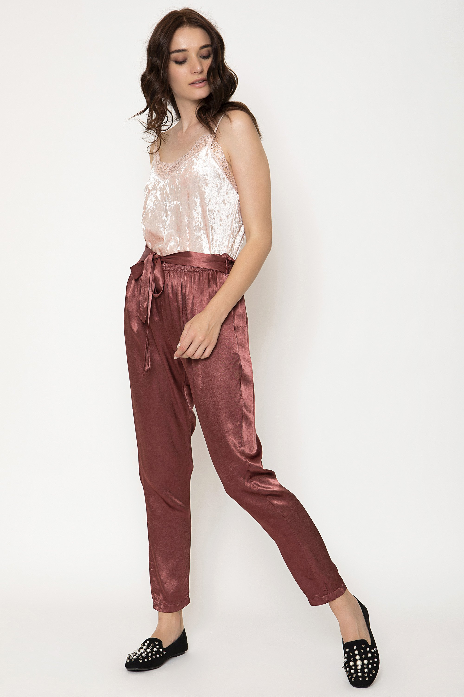 TIED WAIST ΠΑΝΤΕΛΟΝΙ - Σκούρο ροζ clothes   παντελόνια