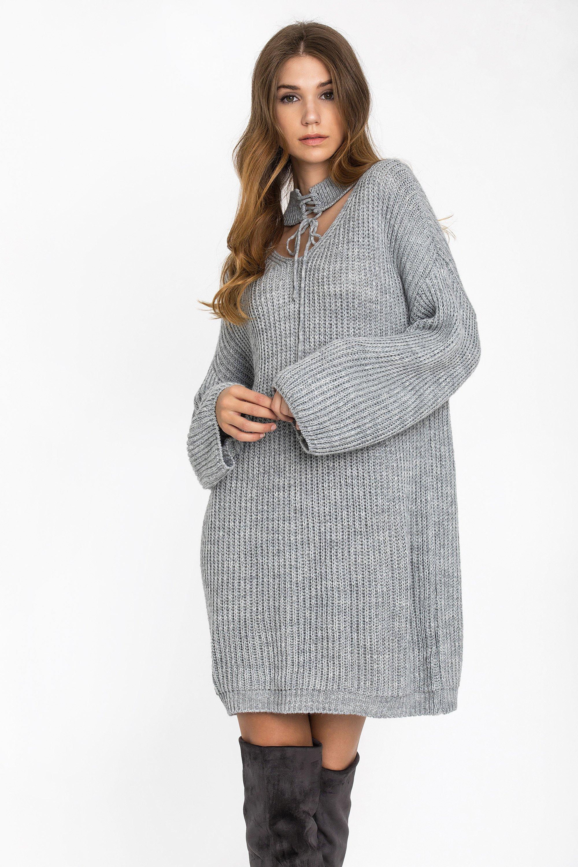 CHOKER NECK ΦΟΡΕΜΑ - Γκρι clothes   φορέματα   φόρμες   mini φορέματα
