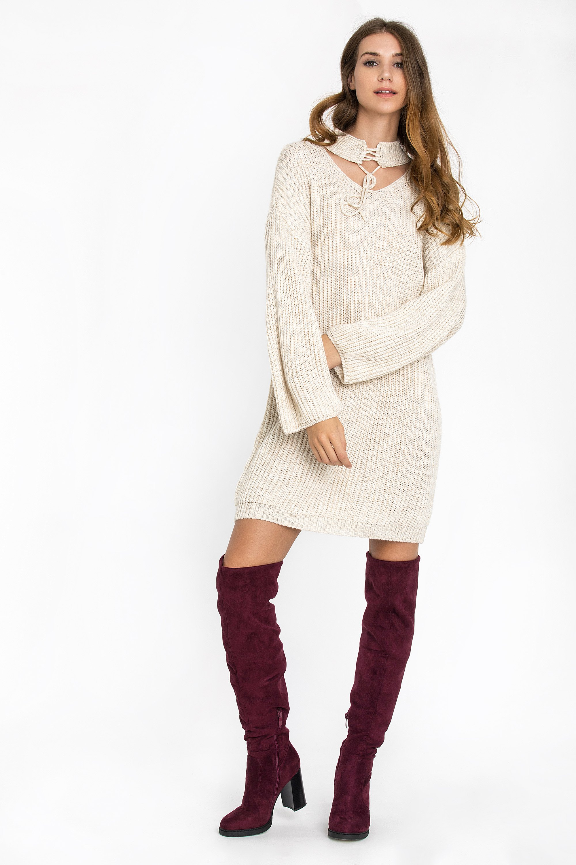CHOKER NECK ΦΟΡΕΜΑ - Εκρού clothes   φορέματα   φόρμες   mini φορέματα