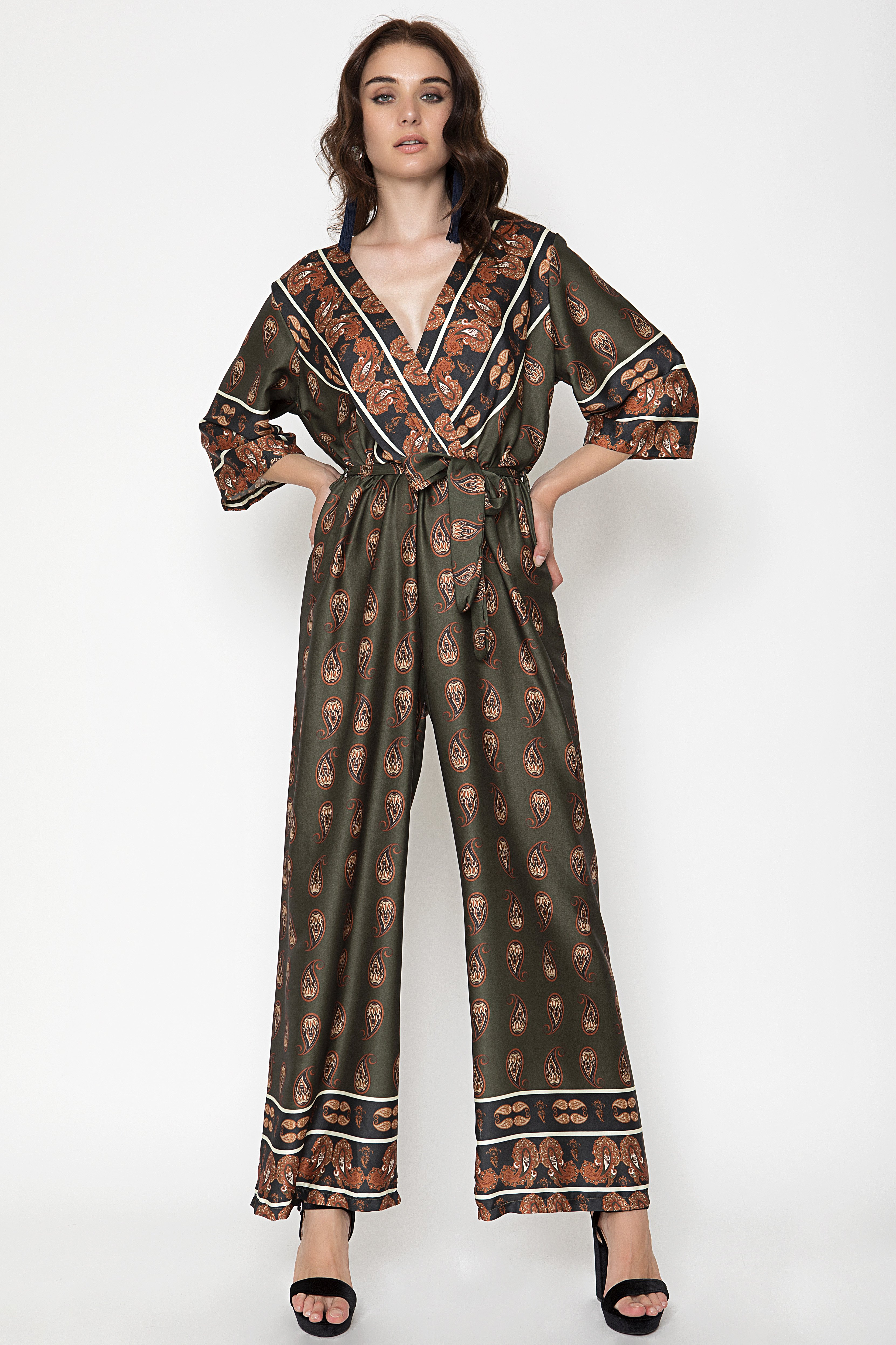 WRAP JUMPSUIT - Χακί clothes   φορέματα   φόρμες   ολόσωμες φόρμες