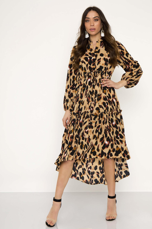 145909f5df42 LEOPARD MIDI ΦΟΡΕΜΑ ΜΕ ΒΟΛΑΝ - CLOTHES -> Φορέματα & Φόρμες -> Maxi  φορέματα | Made of Grace
