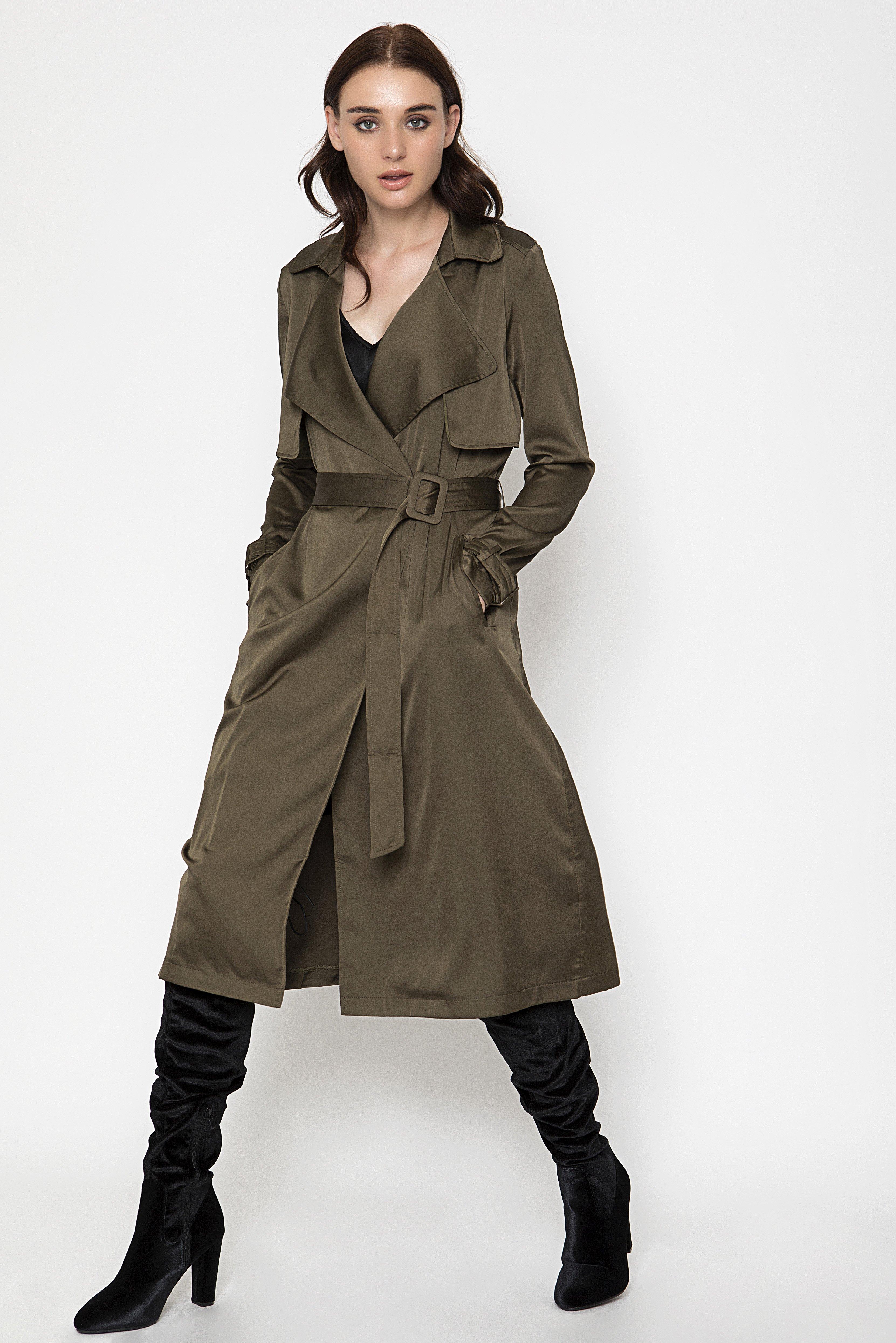 SATIN ΚΑΜΠΑΡΝΤΙΝΑ - Χακί clothes   jackets   παλτό   μπουφάν
