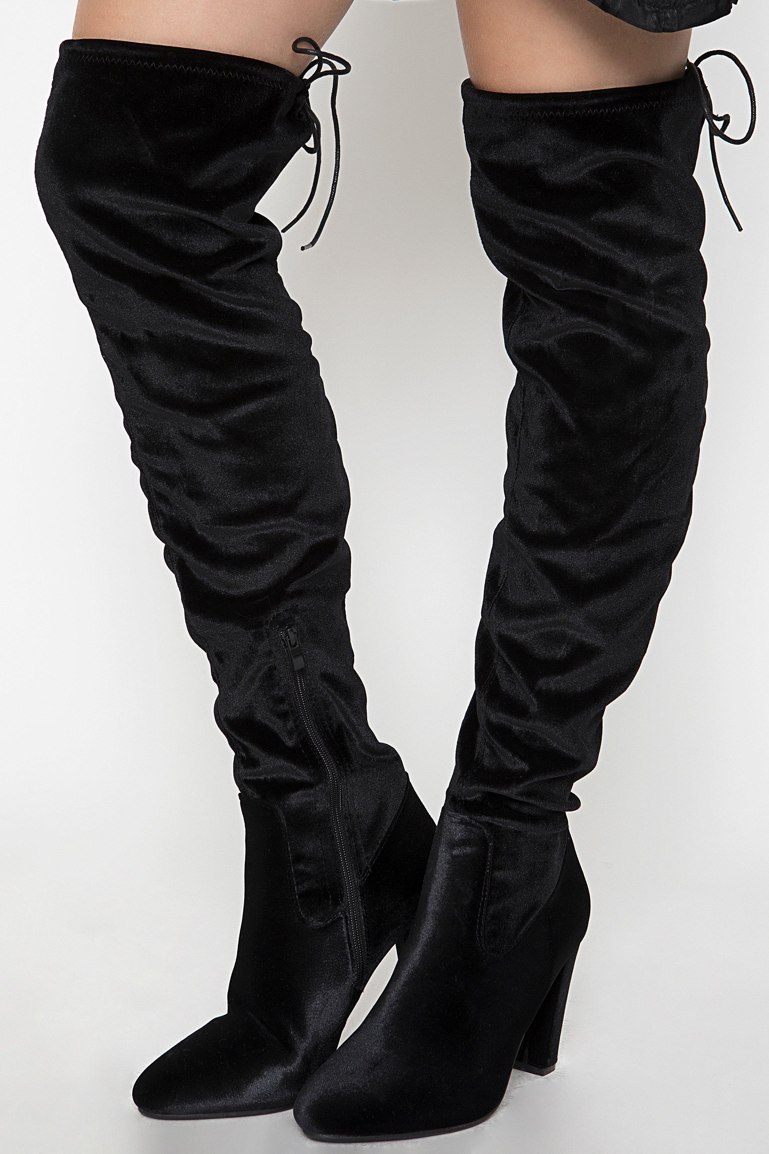 OVER THE KNEE VELVET BOOTS - Μαύρο shoes   heels
