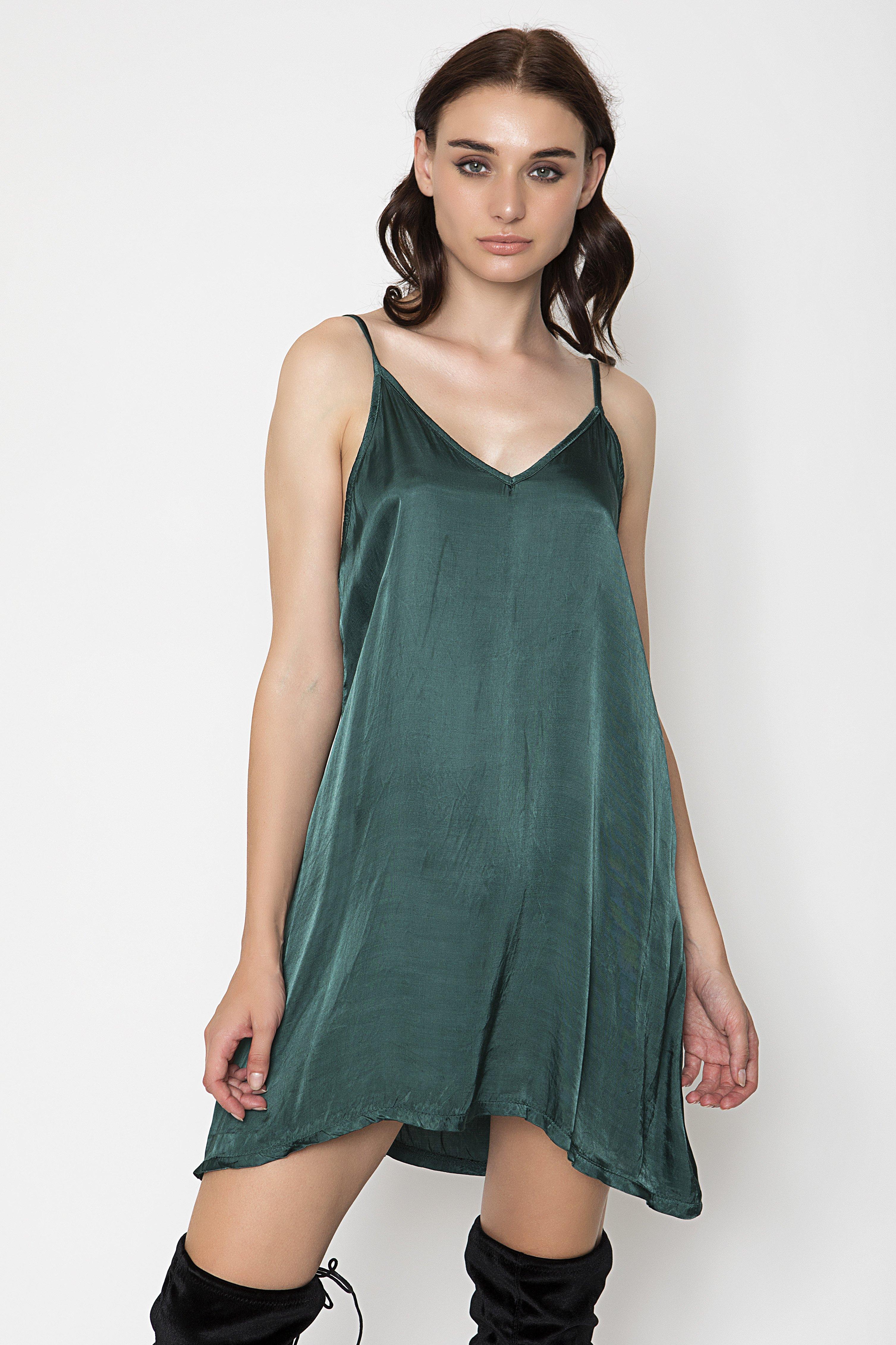 SATIN SLIP ΦΟΡΕΜΑ - Πράσινο clothes   φορέματα   φόρμες   mini φορέματα