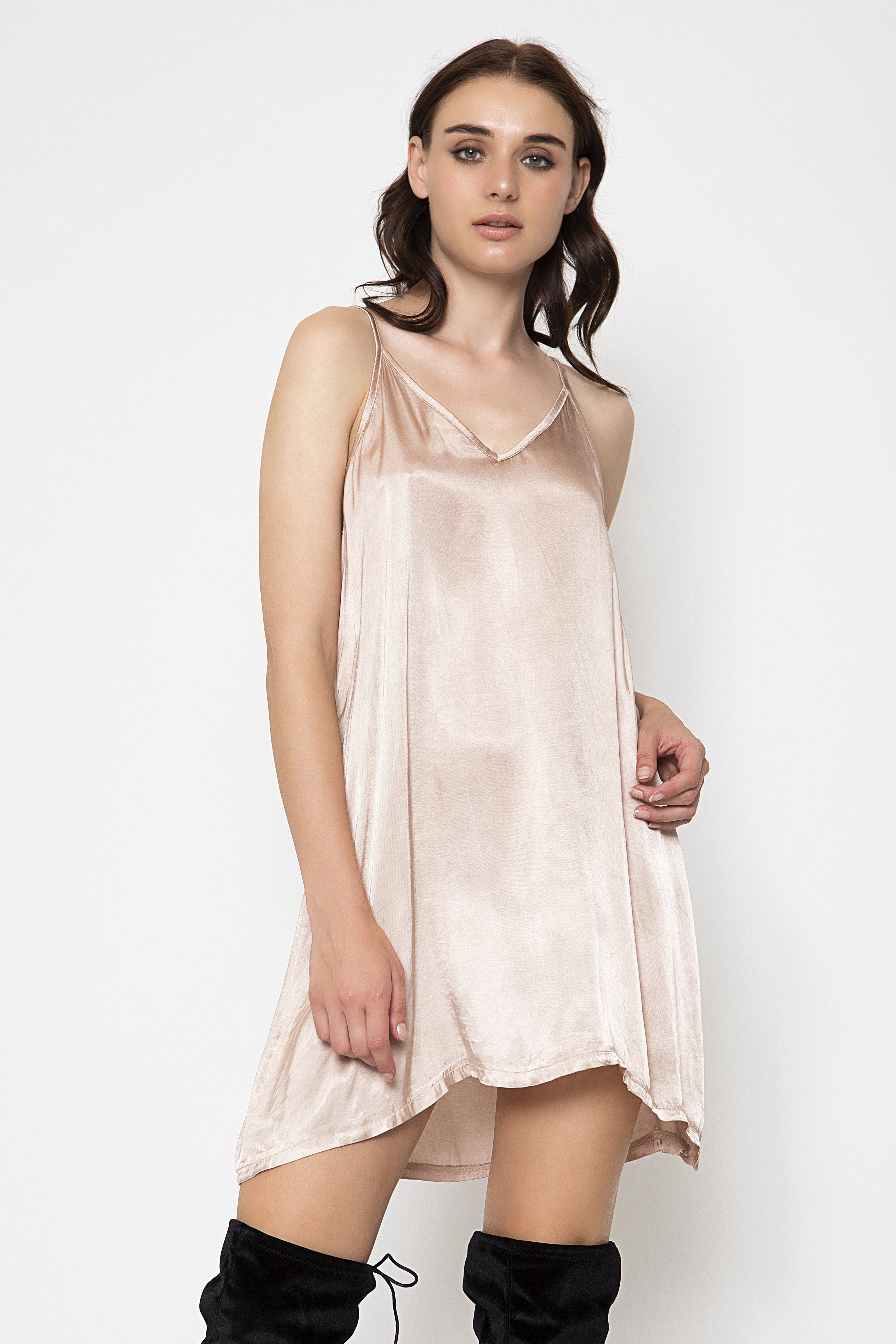 SATIN SLIP ΦΟΡΕΜΑ - Nude clothes   φορέματα   φόρμες   mini φορέματα