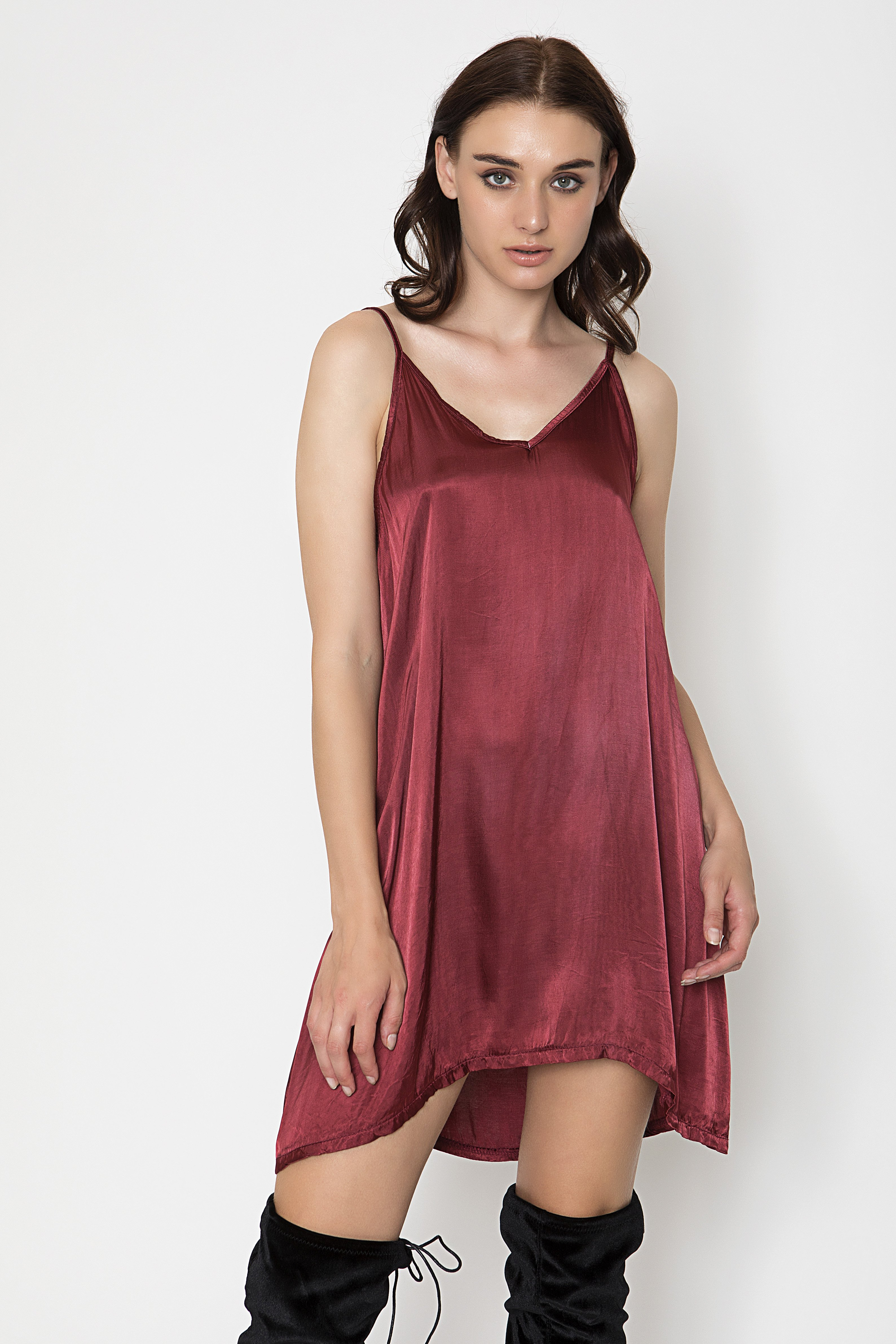 SATIN SLIP ΦΟΡΕΜΑ - Μπορντώ clothes   φορέματα   φόρμες   mini φορέματα