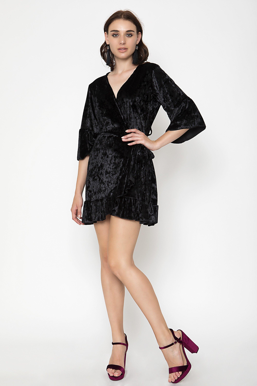 VELVET FRILL ΦΟΡΕΜΑ - Μαύρο clothes   φορέματα   φόρμες   mini φορέματα
