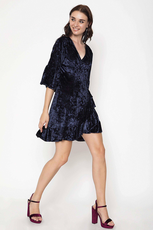 VELVET FRILL ΦΟΡΕΜΑ - Μπλε clothes   φορέματα   φόρμες   mini φορέματα