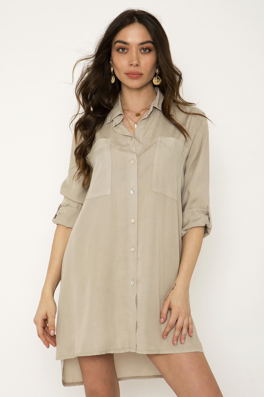 1dd4effe80aa ΠΟΥΚΑΜΙΣΟ ΦΟΡΕΜΑ ΜΕ ΤΣΕΠΕΣ - CLOTHES -  Φορέματα   Φόρμες -  Mini φορέματα