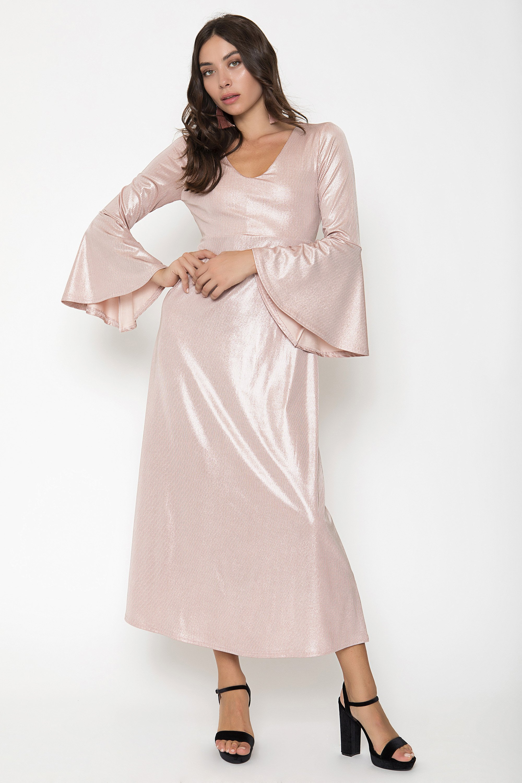 METALLIC MIDI ΦΟΡΕΜΑ - Ροζ clothes   φορέματα   φόρμες   midi φορέματα