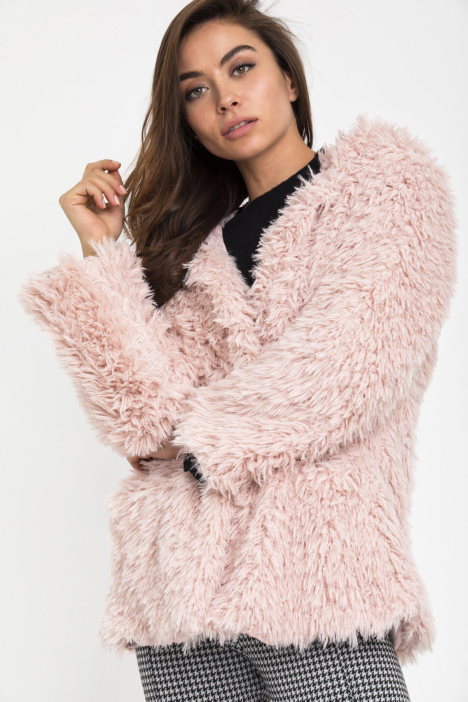 SOFT FAUX FUR ΠΑΛΤΟ - Ροζ clothes   jackets   παλτό   μπουφάν