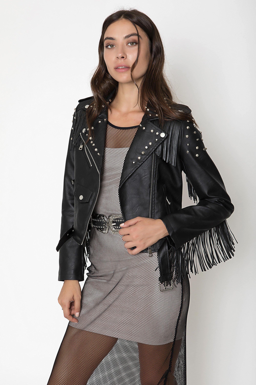 LEATHER FRINGED JACKET - Μαύρο clothes   jackets   παλτό   μπουφάν