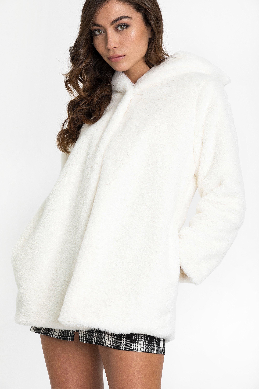 SOFT FAUX FUR ZIP ΠΑΛΤΟ - Εκρού clothes   jackets   παλτό   μπουφάν