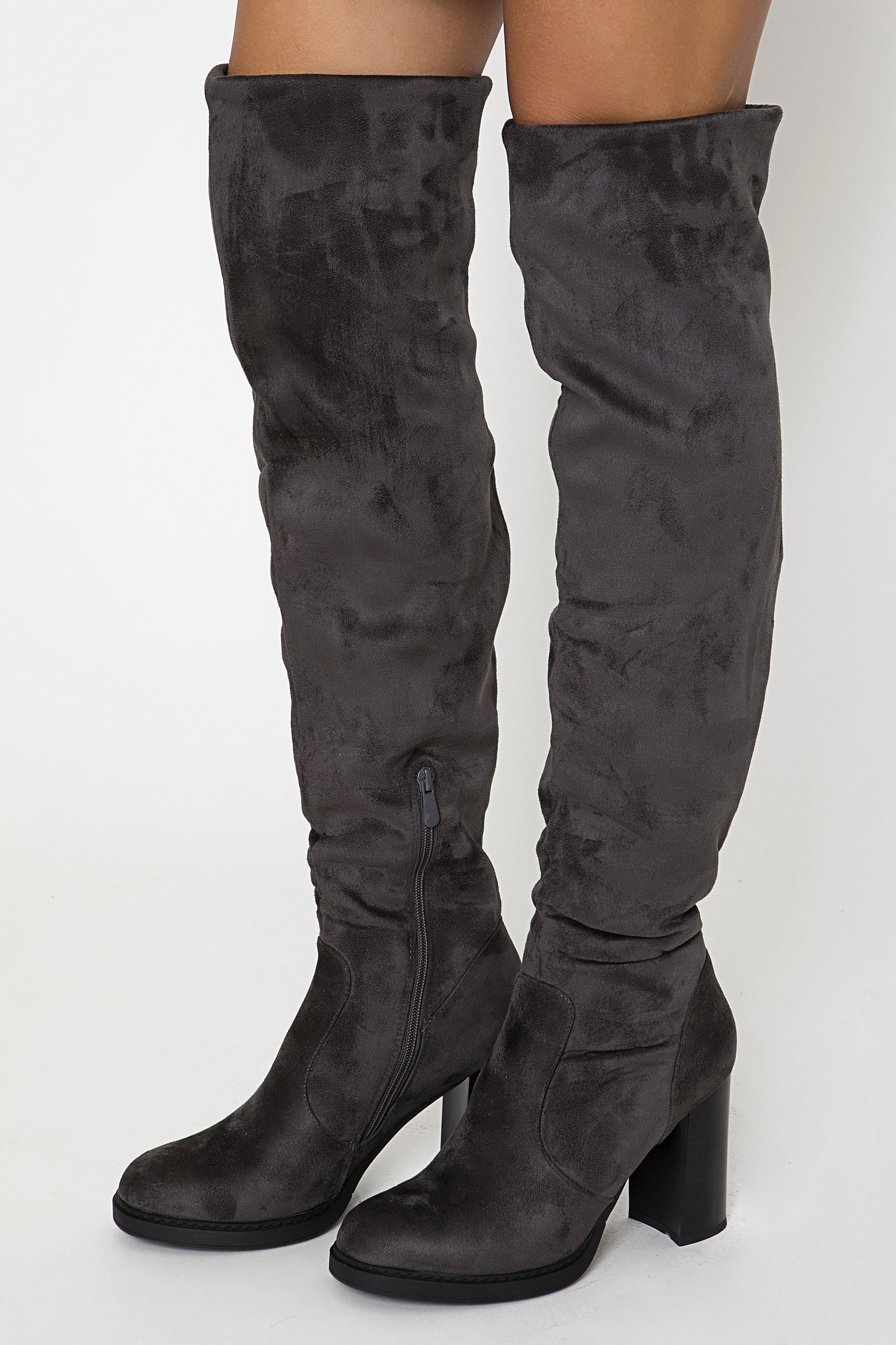 OVER THE KNEE BOOTS - Γκρι