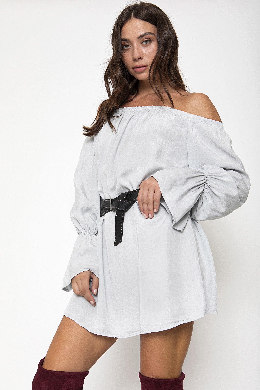 OFF SHOULDER TUNIC - Ανοιχτό γκρι clothes   tops   tunic