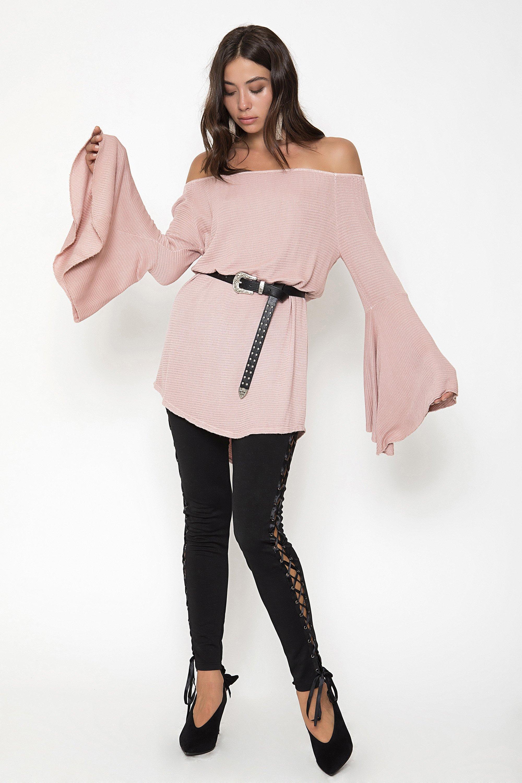 ΒELL SLEEVE TUNIC - Ροζ clothes   tops   tunic
