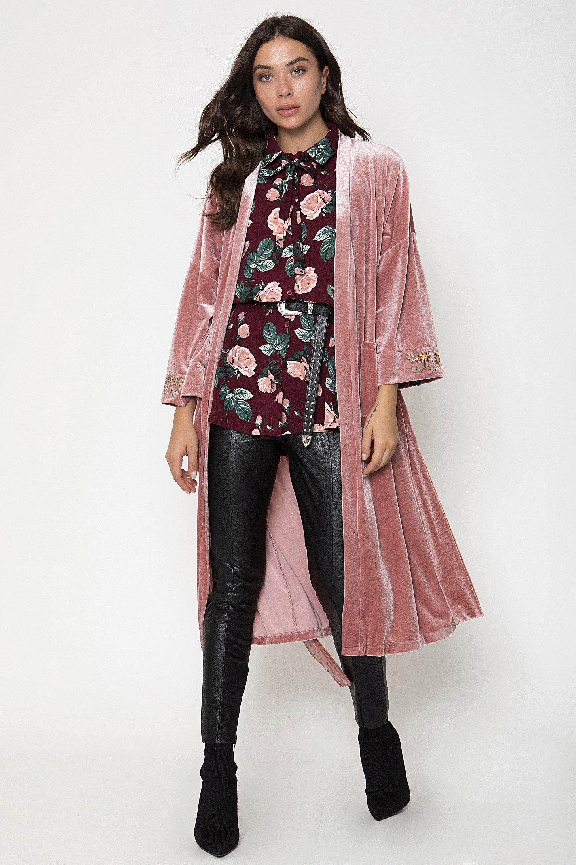 VELVET KIMONO - Ροζ clothes   jackets   kimono