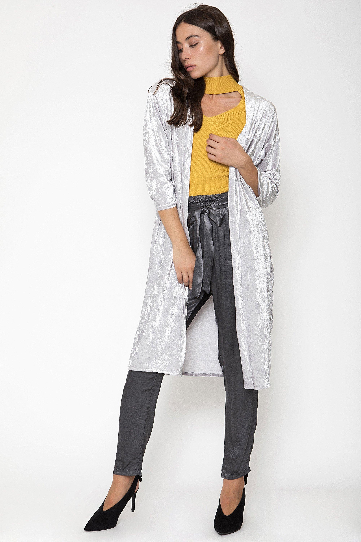 VELVET KIMONO - Ανοιχτό γκρι clothes   jackets   kimono