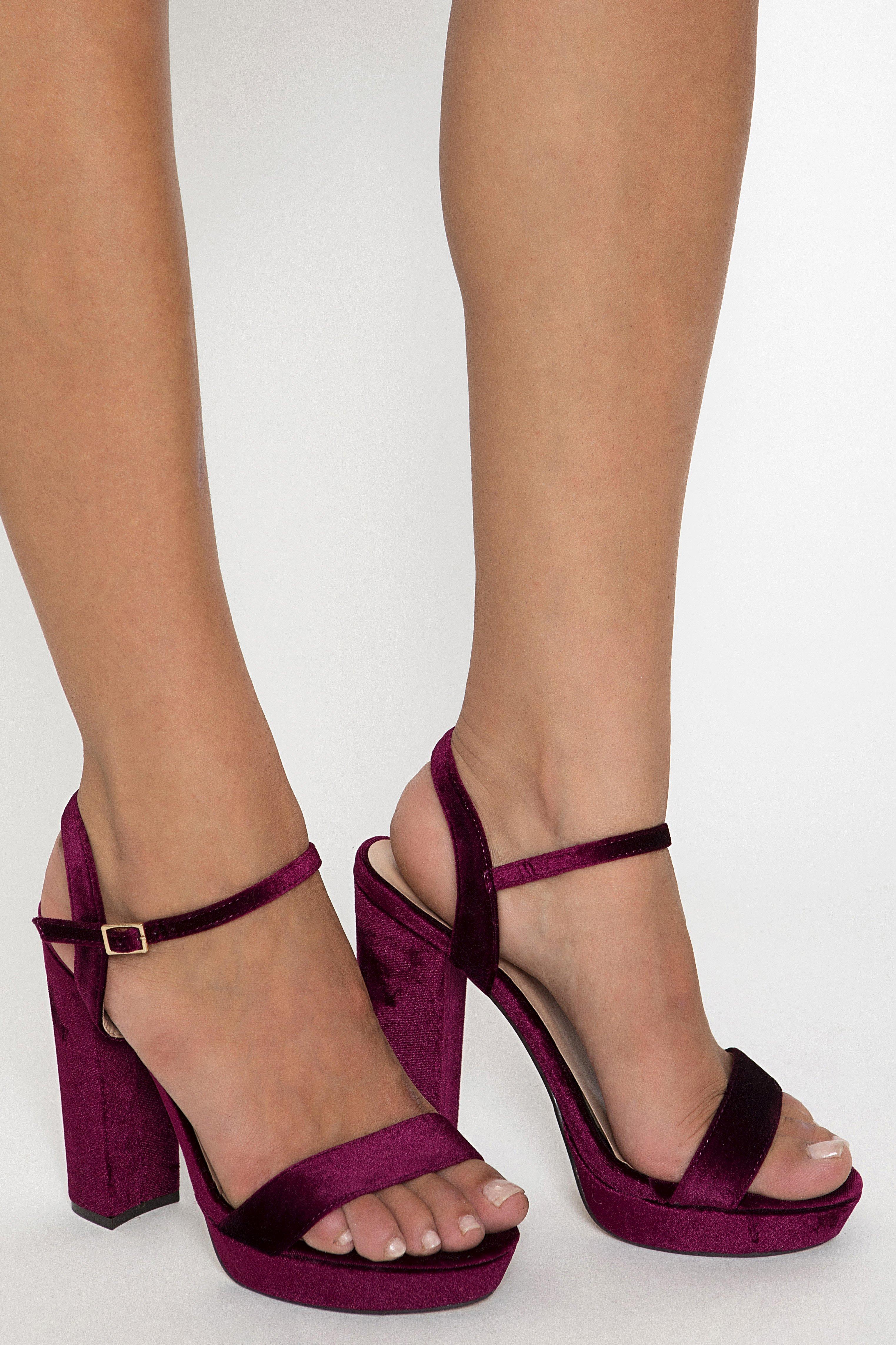 VELVET PLATFORMS - Βυσσινί shoes   heels