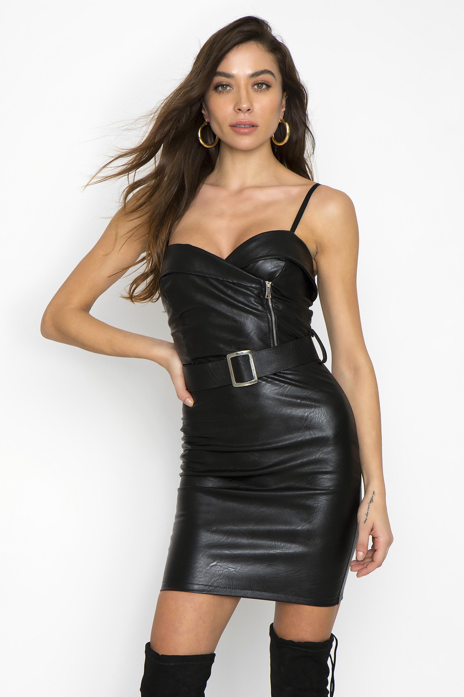 7a4368712b74 ΔΕΡΜΑΤΙΝΟ ΦΟΡΕΜΑ ΜΕ ΖΩΝΗ - CLOTHES -> Φορέματα & Φόρμες -> Mini φορέματα |  Made of Grace