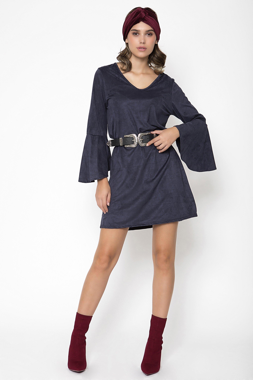 SUEDE ΦΟΡΕΜΑ - Μπλε clothes   φορέματα   φόρμες   mini φορέματα
