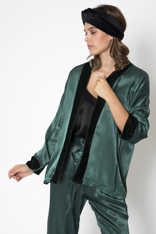 SATIN KIMONO - Πράσινο clothes   jackets   kimono