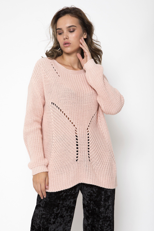 LACE UP ΠΟΥΛΟΒΕΡ - Ροζ clothes   tops   πουλόβερ