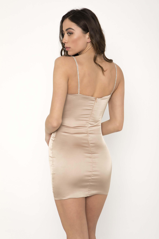 ΣΑΤΕΝ ΜΙΝΙ ΦΟΡΕΜΑ ΜΕ ΣΤΡΑΣ - CLOTHES -  Φορέματα   Φόρμες -  Mini φορέματα   ffe4180929d