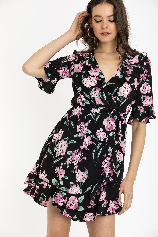 FLORAL WRAP ΦΟΡΕΜΑ - Μαύρο clothes   φορέματα   φόρμες   mini φορέματα