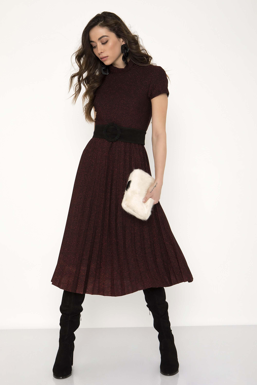 989ce1f1623b ΜΕΤΑΛΙΖΕ MIDI ΠΛΙΣΕ ΦΟΡΕΜΑ - CLOTHES -  Φορέματα   Φόρμες -  Midi φορέματα
