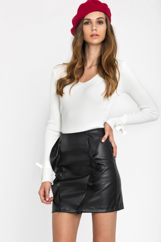 LEATHER FRILL ΦΟΥΣΤΑ - Μαύρο clothes   φούστες