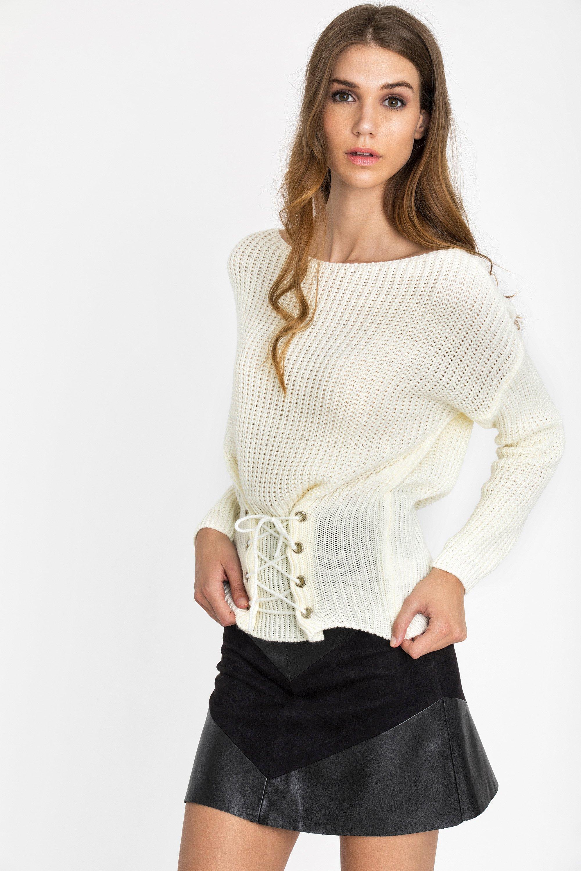 CORSET ΠΟΥΛΟΒΕΡ - Εκρού clothes   tops   πουλόβερ