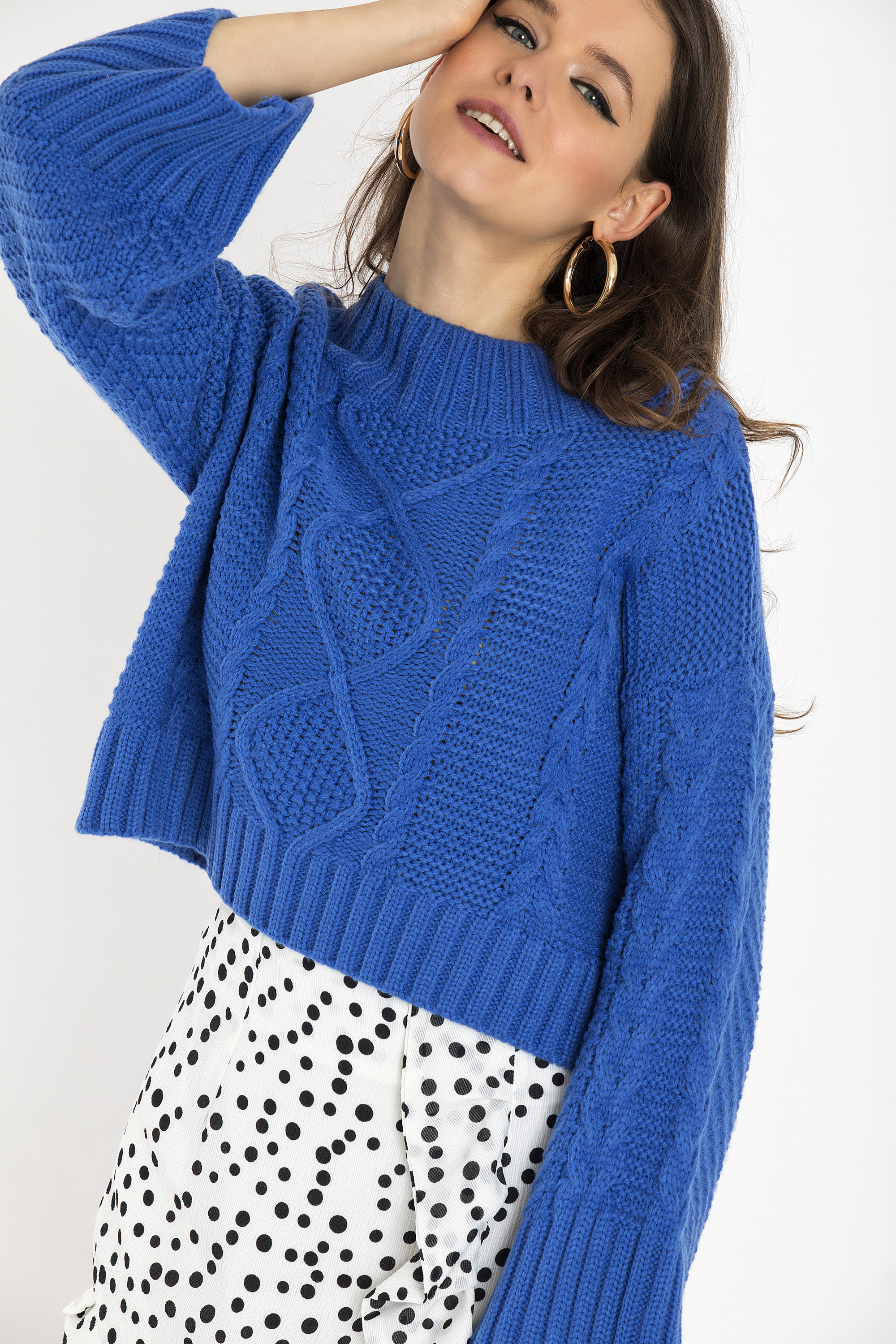 CHUNKY CROPPED ΠΟΥΛΟΒΕΡ - Μπλε clothes   tops   πουλόβερ