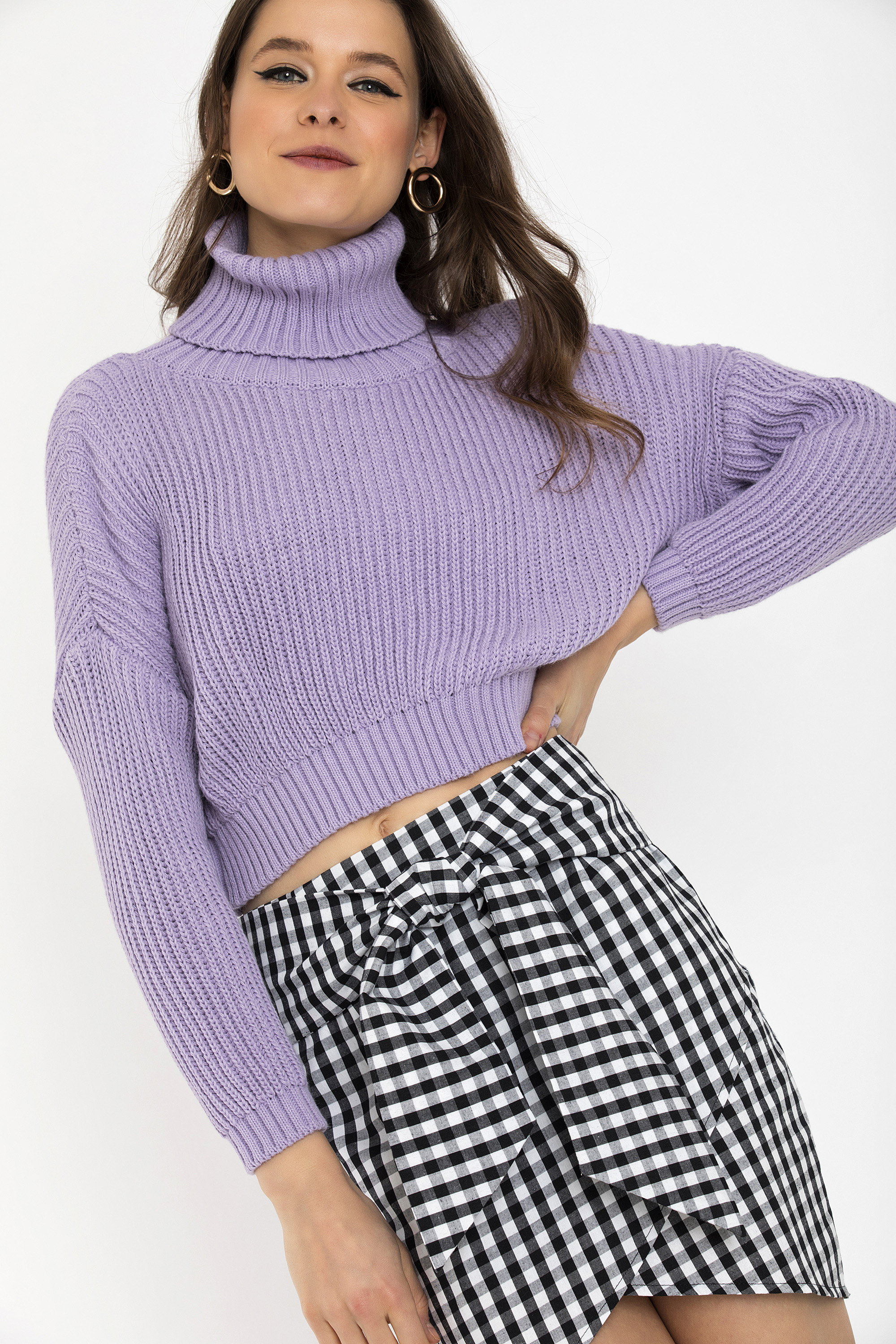 CROPPED ΠΟΥΛΟΒΕΡ - Λιλά clothes   tops   πουλόβερ