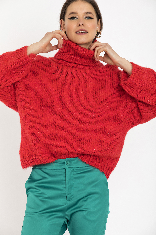 OVERSIZED ΠΟΥΛΟΒΕΡ - Κοραλί clothes   tops   πουλόβερ
