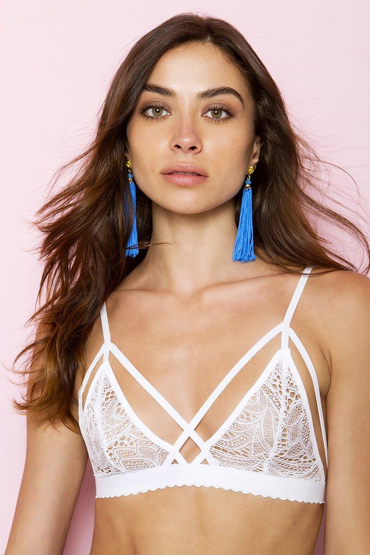 Victoria White Strappy Lace Bralette - Άσπρο