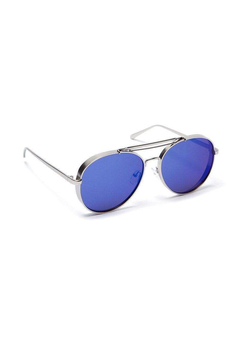 Mirrored Aviator Shades - Ασημί