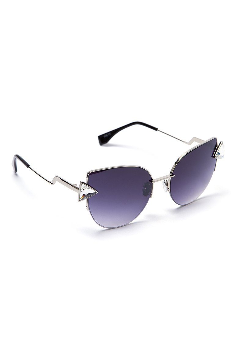 Cut Eye Strass Shades - Ασημί