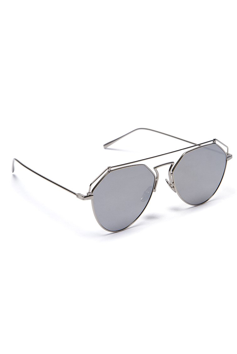 Metal Bridge Aviator Shades - Ασημί