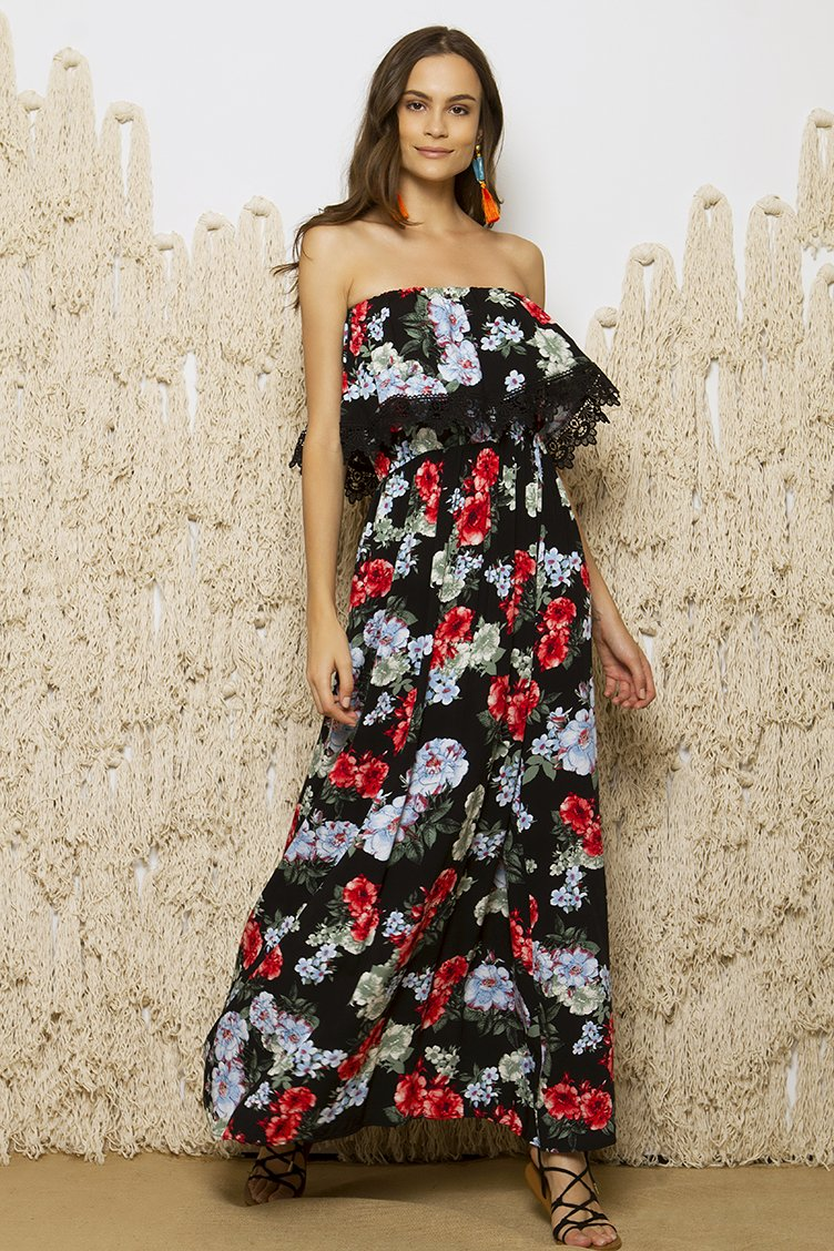 Off Shoulder Floral Maxi Φόρεμα - CLOTHES -  Φορέματα   Φόρμες ... 1ff0fde2366